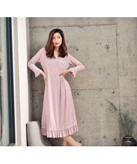 Spring Summer Lotus Leaf Sleepwear Womens Modal Co...