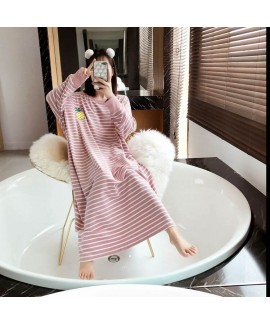 Spring Autumn Women Cotton Nightdress Long Sleeve ...