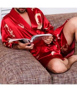 Men's Long Sleeve Slim Fit Casual Silk Nightgown Print Pajamas Fashion Soft Sleepwear