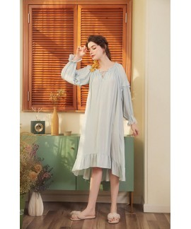 Bathrobe Female 100% Cotton Nightgowns Women Night...