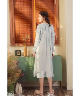 Bathrobe Female 100% Cotton Nightgowns Women Night Wear Vintage Ruffled Sleepwear Honeymoon Nightdress Indoor Clothing