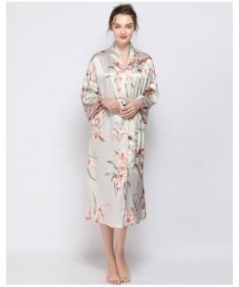 New Thin Ice Silk Milan Printing Robe Fresh and Sw...