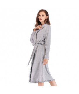 Women Home Clothes 100% Cotton Lace Nightdress Win...