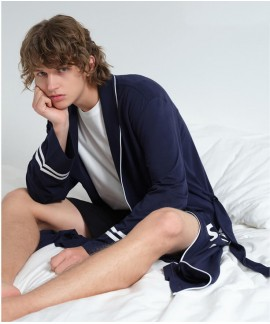 Sport Style Navy Blue Thin Bathrobe Men's Summer C...