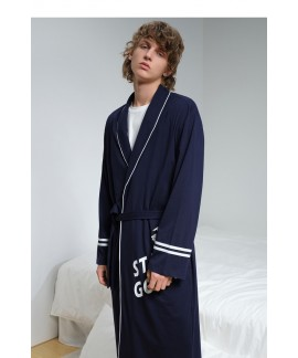 Sport Style Navy Blue Thin Bathrobe Men's Summer Cotton Nightgown Spring Autumn Kimono Long-sleeved Pajama For Men Wholesale
