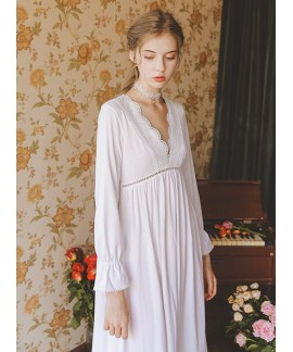Ladies 100 Cotton Nightgown Spring Autumn Long Sle...