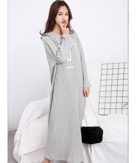 Autumn Winter Female Print Night Dress Sweet Cotton Loose Long-sleeved Nightgown Female Large Size Home Clothes Maternity Pajamas
