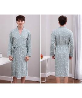 Mens Printing Night Wear Robe 100% Cotton Kimono Bath Robe Long Sleeve Nightgown Spring Autumn