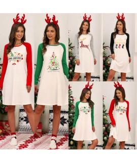 Christmas Printed Dress Women Cotton Printed Long ...