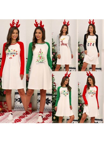 Christmas Printed Dress Women Cotton Printed Long Sleeve Spring Autumn Patchwork Nightgown Ladies Home Nightdress