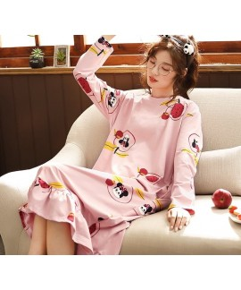 New Woman Cotton Nightdress Long Sleeve Spring Fal...