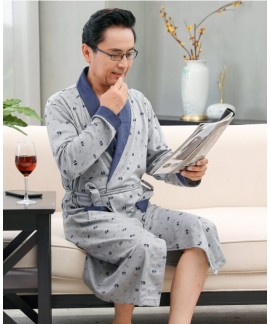 Men Casual Kimono Print Bathrobe Long Cotton Nghtg...
