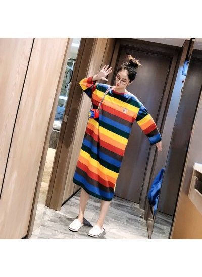 Autumn Winter Cute Sweet Womens Cotton Long-sleeved Nightgowns Thicken Rainbow Striped Nightdress For Famale
