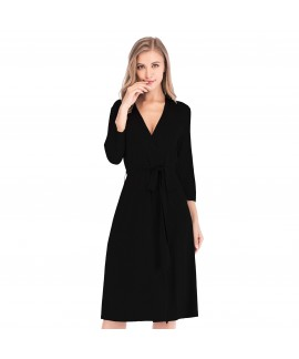Autumn Winter New Modal Cotton V-neck Nightgown Se...
