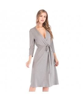 Autumn Winter New Modal Cotton V-neck Nightgown Sexy Ladies Nightdress Large Size Long Sleeve Sleepwear Lightweight Bathrobe With Belt