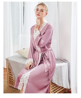 Women Long Sleeve Silk Satin Nightgowns Casual Loose Night Dress Spring Summer Autumn Lace Print Home Clothing Nightshirts