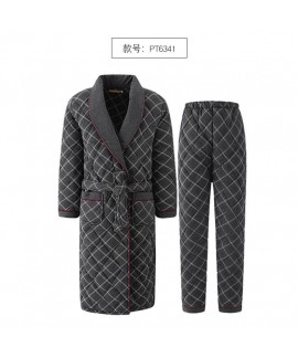 Men's nightgown winter thickened mid-length cotton warm bathrobe and pants pajamas two-piece suit wholesale