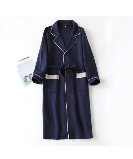 Men bathrobes pure cotton thick quilted long-sleeved pajamas home service bathrobe winter autumn wholesale