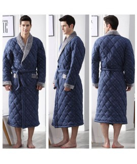 Winter men's warm robe plus cotton nightgown thicker and longer bathrobes for the elderly wholesale