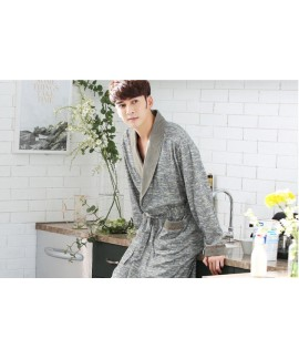 Men's Grey Print Cotton Classical Nightgown Spring...
