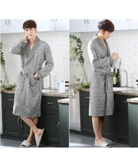 Men's Grey Print Cotton Classical Nightgown Spring Autumn Pockets Long Sleeve Bathrobe Plus Size Home Service