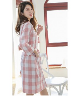 Bathrobe 100% Cotton Ladies Plaid Elegant Adult Ni...