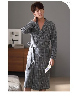 Gray plaid long robe spring and autumn cotton men'...