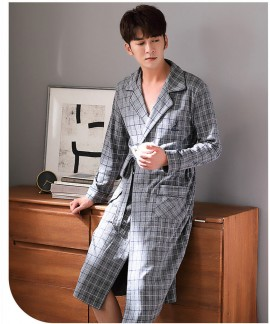 Gray plaid long robe spring and autumn cotton men's long-sleeved bathrobe father pajamas wholesale