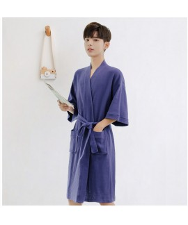 Men's Waffle Cotton Japanese Towel Nightgown Sprin...