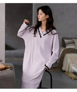 2020 Autumn Nightdress Women Long Sleeve Pure Cott...