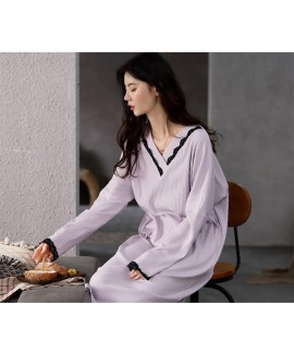 2020 Autumn Nightdress Women Long Sleeve Pure Cotton Knit Lace Pajamas Mid-length Home Wear Wholesale