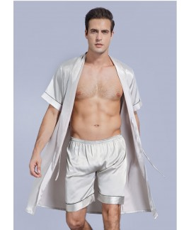 Men's Summer Ice Silk Thin Short Sleeves Bathrobe ...