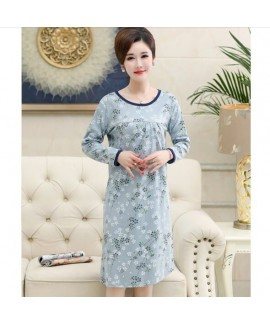 Fashion Cotton Print Summer Nightgown For Middle-a...