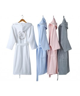 Fashion Casual Mens Print Bathrobes Cotton Thick V Neck Long Sleeve Adult Hooded Warm Male Absorbent Nightgown Coat