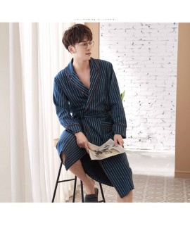 Japanese Style Kimono Stripe Male Cotton Bathrobe ...
