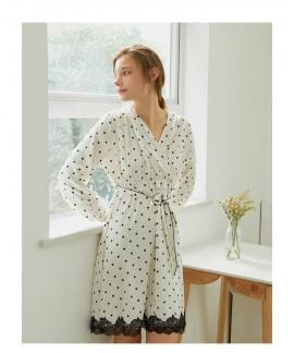 Spring Summer Sweet Lace Polka Dot Silk Nightwear ...