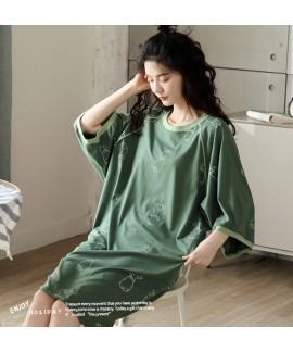 Cotton Cartoon Soft Nightdress With Three-quarter ...