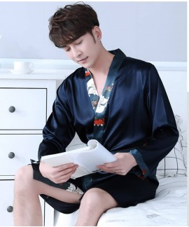 Print Silk Robes Mens Spring Summer Male Satin Nig...