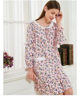 Cotton Korean Sweet Floral Long Loose Nightdress S...