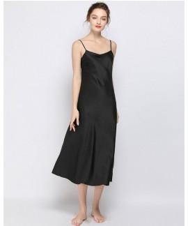 Sexy Women Silk Long Suspender Nightdress Spring a...