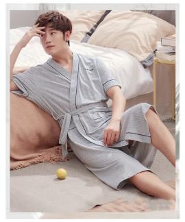Striped Robe Men Short Sleeve Summer 100% Cotton m...