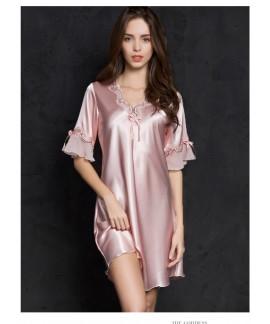 Sexy Women Silk Satin Sleepwear Half Sleeve Embroi...