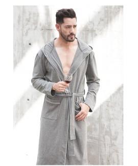 Men's Spring Autumn Cotton Nightgown Grey Long Sle...