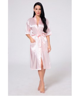 Women's Long Silk Robe Summer Pure Color Ladies Si...