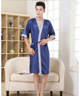 Men's Ice Silk Plaid Print Nightgown Spring Summer...
