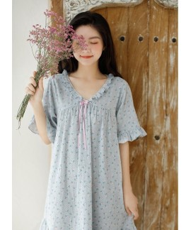 Korean Ladies Floral Bow Cotton Nightdress V Neck ...