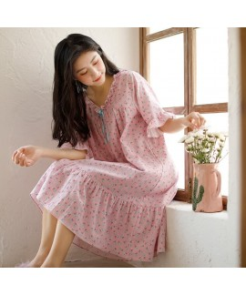 Korean Ladies Floral Bow Cotton Nightdress V Neck Oversized Summer Sweet Student Home Skirt Wholesale and Retail