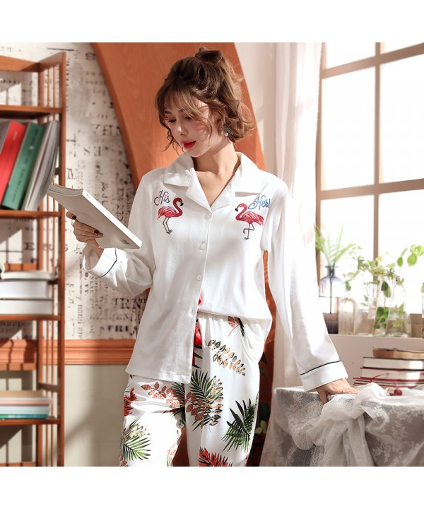 Cotton knitted pajamas new autumn winter pajama sets in spring and Autumn