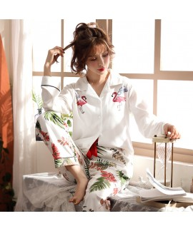 Cotton knitted pajamas new autumn winter pajama se...