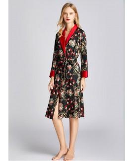 Spring Autumn Plant Print Silk Nightdress Female T...